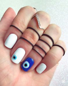 Stylish Nails, Trendy Nails, Nail Manicure, Gel Nails, Evil Eye Nails, Simple Acrylic Nails, Fire Nails, Funky Nails, Minimalist Nails