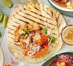 Use a fajita mix for these fish tacos to give you all the right flavours without having to buy jars of individual spices. They take just 20 minutes to make Fish Recipes, Seafood Recipes, Mexican Food Recipes, Ethnic Recipes, Salad Recipes, Fajita Mix, Fajita Seasoning, Bbc Good Food Recipes, Healthy Recipes