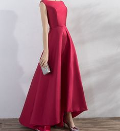 Simple Burgundy Prom Dress Hi-low Evening Dress