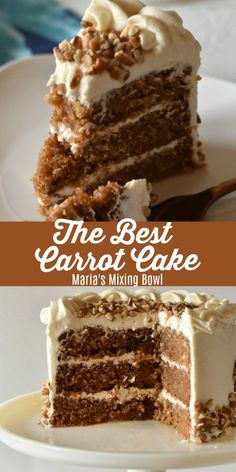 The Best Carrot Cake is incredibly moist and and super delicious! Topped with a … The Best Carrot Cake is incredibly moist and and super delicious! Topped with a sweet and creamy cream cheese frosting you will swoon over this cake. Homemade Carrot Cake, Moist Carrot Cakes, Best Carrot Cake, Homemade Cake Recipes, Carrot Recipes, Baking Recipes, Carrot Cake Topping, Carrot Cake Frosting, Buttercream Frosting