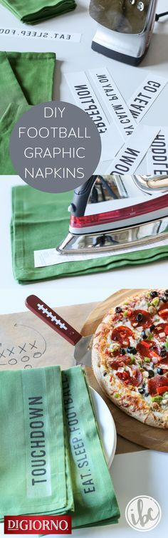 Check out this easy football-themed party idea for DIY graphic napkins. They are perfect for entertaining with @digiorno ! #RiseToTheOccasion and make a set for your next football celebration! #ad