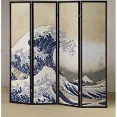 4-Panel Fukusai Wave Shoji Room Divider Screen, Black