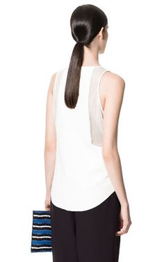 FAUX LEATHER AND MESH TOP - Woman - New this week - ZARA United States