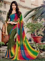Mehendi Green Color Georgette Kitty Party Sarees : Leena Collection  YF-42449