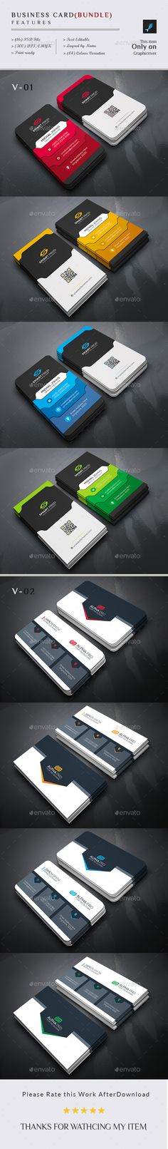Card Bundle (2 In 1) - #Business #Cards Print Templates Download here:  https://graphicriver.net/item/card-bundle-2-in-1/19520107?ref=alena994