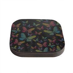Kess InHouse Snap Studio 'Butterflies II' Pastel Chalk Coasters
