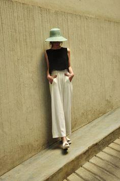Cream linen culottes Summer uniform
