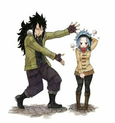 Gajeel, Levy, funny, pose; Fairy Tail