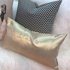 Pillow Decor - Tuscany Linen Gold Metallic 12x20 Throw Pi...