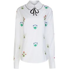 Vivetta White Floral Embroidered Blouse ($385) ❤ liked on Polyvore featuring tops, blouses, white blouses, floral blouses, white french cuff shirt, long-sleeve shirt and embroidered shirts