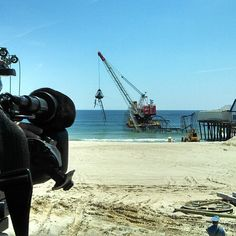 Seaside Heights roller coaster being removed from the Atlantic Ocean. (Photo: Tom Winter) #Sandy