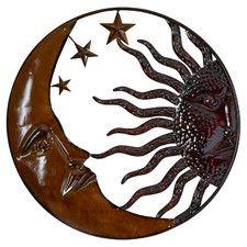 Doetinchem Rustic Antique Metal Sun Moon Wall Décor