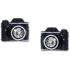 Betsey Johnson Black Camera Stud Earrings