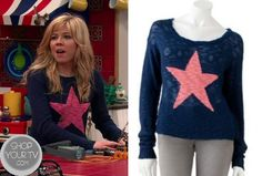 Sam Puckett (Jennette McCurdy) wore this Blue Kohl's Heart N Crush Star Print Slubbed Sweater. Fashion Tv, Fashion Line, I Love Fashion, Fashion Outfits, Teen Girl Outfits, Cool Outfits, Sam And Cat, Pink Stars, Sweater Shop