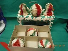 Honeycomb Bells / Balls Christmas Ornaments Made in JAPAN. Vintage 50's
