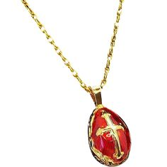 Vintage Ornate Red Enameled Egg  Goldtone Metal Pendant Necklace with Cross. https://www.rubylane.com/shop/elainesjewelry