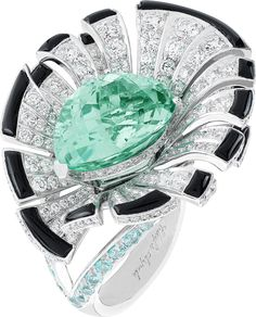 Van Cleef & Arpels The Everlasting Light Ring is in white gold, with diamonds, onyx, tourmalines and a 10.62ct pear-shaped Brazilian Paraiba-like tourmaline.