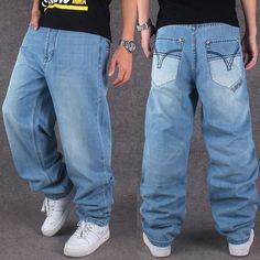 32.00$  Watch here - http://aiqqx.worlditems.win/all/product.php?id=32699765037 - Men Wide Leg Denim Pants Hip Hop light blue Casual jean trousers Baggy jeans for Rapper Skateboard Relaxed Jean joggers 71808