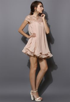 Beads Embellished Pleated Dolly Dress in Nude Pink - Dress - Retro, Indie and Unique Fashion