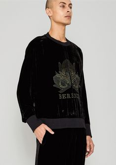 801ea4b315c6 OVERSIZED SWEATER - SILK VELVET black with golden BERENIK embroidery