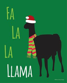Llama Christmas Digital Print by RebeccaSereyDesign on Etsy