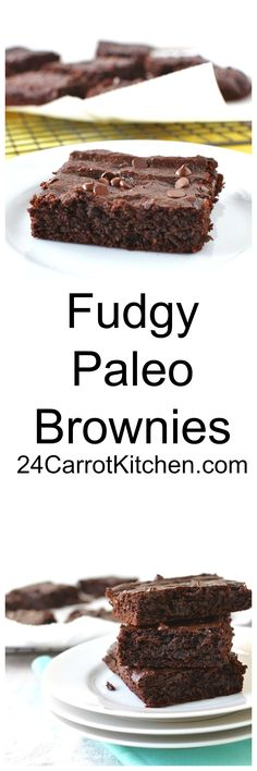 Flourless Brownies - Fudgy and delicious! #Paleo, #grain-free #gluten-free #dairy-free #dessert - 24 Carrot Kitchen