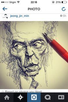 Pencil sketch caricature