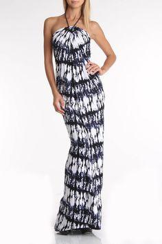 Josh Brody Jenna Maxi Dress In Blue Print -