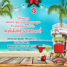 How to win a Margaritaville® Key West™ Frozen Concoction Maker®: 1. Visit our Holiday Pin Contest Tab on Facebook 2. Fill out the form 3. Pin your escape to paradise  4. Submit and follow Margaritaville® Cargo on Pinterest Good luck - Contest ends on December 24, 2014! #pinittowinit