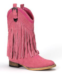 Flowing with fashionable fringe, this trendy take on a classic cowboy boot is terrific for tiny feet! A low heel, soft leather upper and convenient inside zipper mean little cowgirls can prance about in comfort. 1'' heel9'' shaft11'' circumferenceSample size Little Kid 13
