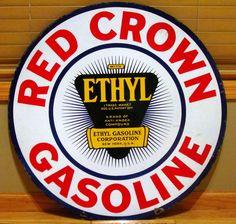 Red Crown Gasoline Porcelain Sign (Vintage 1920 Gas Station Advertising, Antique Ethyl Gasoline Corporation Signs)