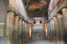 Ajanta Caves - Cave 9, an early chaitya hall, with murals surviving, and plain octagonal columns