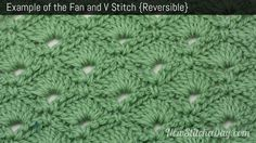 Vintage Fan Ripple Stitch Pattern | Example of the Fan & V Stitch. Reversible (Click for Larger Image)