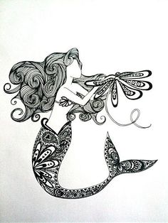 Mermaid Tattoo -There's a lot about this one I like.