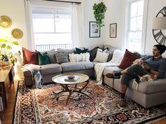 Living Room Decor Gray Grey Sectional Persian Rug White Walls Velvet Pillows Brass Coffee Table Modern Vintage Boho