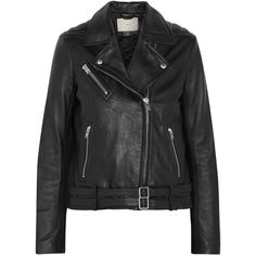 IRO Jone leather biker jacket (1,985 CAD) ❤ liked on Polyvore featuring outerwear, jackets, leather jacket, tops, coats, black, biker jacket, black quilted jacket, moto jacket and leather motorcycle jacket