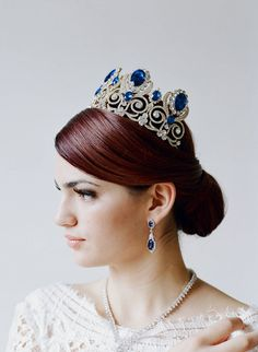 Bridal Tiara, Bridal Statement Tiara -WILLOUGHBY, Swarovski Crystal Bridal Tiara, Gold Crown, Sapphire Tiara, Blue Crown, Something Blue