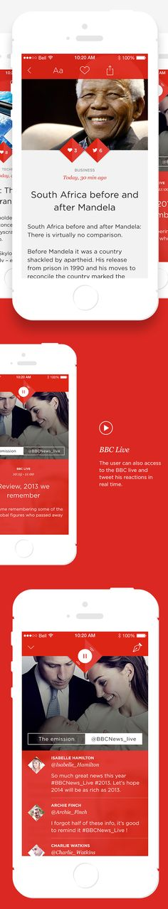 BBC News App Concept by Angelique Calmon, via Behance