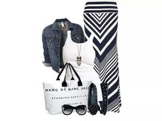 Bag by Marc Jacob, ballet flats, demin jacket and maxi skirt