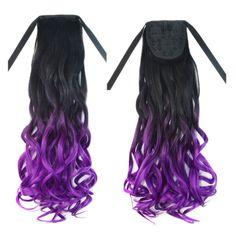 Wig Long Curled Hair Horsetail Gradient Ramp black violet C03-1BT51P#