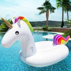 Giant Rainbow Inflatable Unicorn Pool Float Toy Outdoor Fun Water Swim Floater