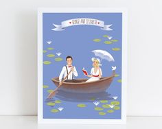 Custom family portrait illustration on a boat (printable personalized art, blue, Cartoon family drawing, Mother's day gift