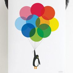 mr penguin balloon print by showler and showler | notonthehighstreet.com