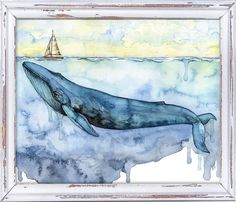 Watercolor Blue Whale Painting Print titled Sovereign