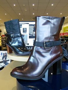 Clarks Kaz Blues Leather Buckle Detail Heeled Boots Womens Shoes & Boots Womens Footwear COLOUR-oxblood