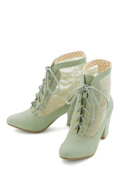 Lace Against Time Bootie in Mint. Youre in a stylish hurry in these time-traveling mint booties by Bait Footwear! #mint #modcloth