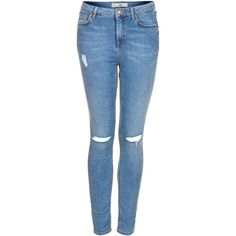 TOPSHOP MOTO Ripped Stone Wash Jamie jeans ($75) ❤ liked on Polyvore featuring jeans, pants, bottoms, pantalones, calças, stone, ripped skinny jeans, distressed skinny jeans, high-waisted skinny jeans and torn skinny jeans