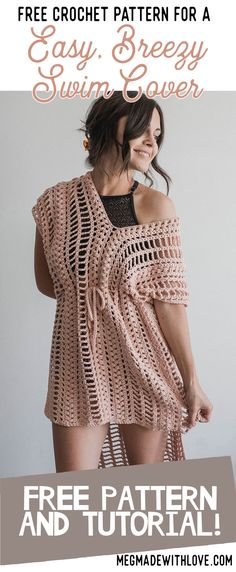 Crochet Patterns Clothes Free Crochet Pattern for Easy Breezy Swim Cover - Swimsuit Coverup - Megmade wit. Poncho Au Crochet, Pull Crochet, Mode Crochet, Crochet Diy, Crochet Woman, Crochet Tops, Crochet Ideas, Crochet Projects, Crochet Cover Up