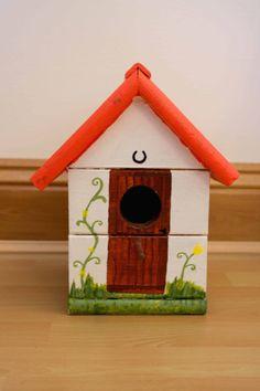 Handmade and handpainted wooden cottage design bird box by CherryBugAccessories.