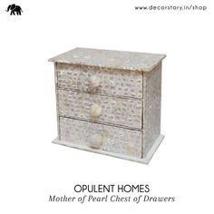 It may not be a treasure chest, but it definitely feels like one! Purchase this ‪#‎MotherOfPearl‬ Chest from www.decorstory.in designed by ‪#‎OpulentHomes‬